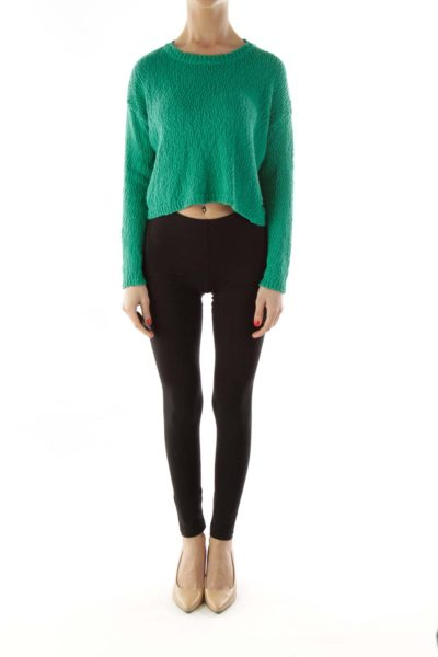 Green Knit Cropped Sweater