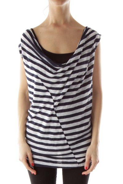 Navy & White Striped Tank Top