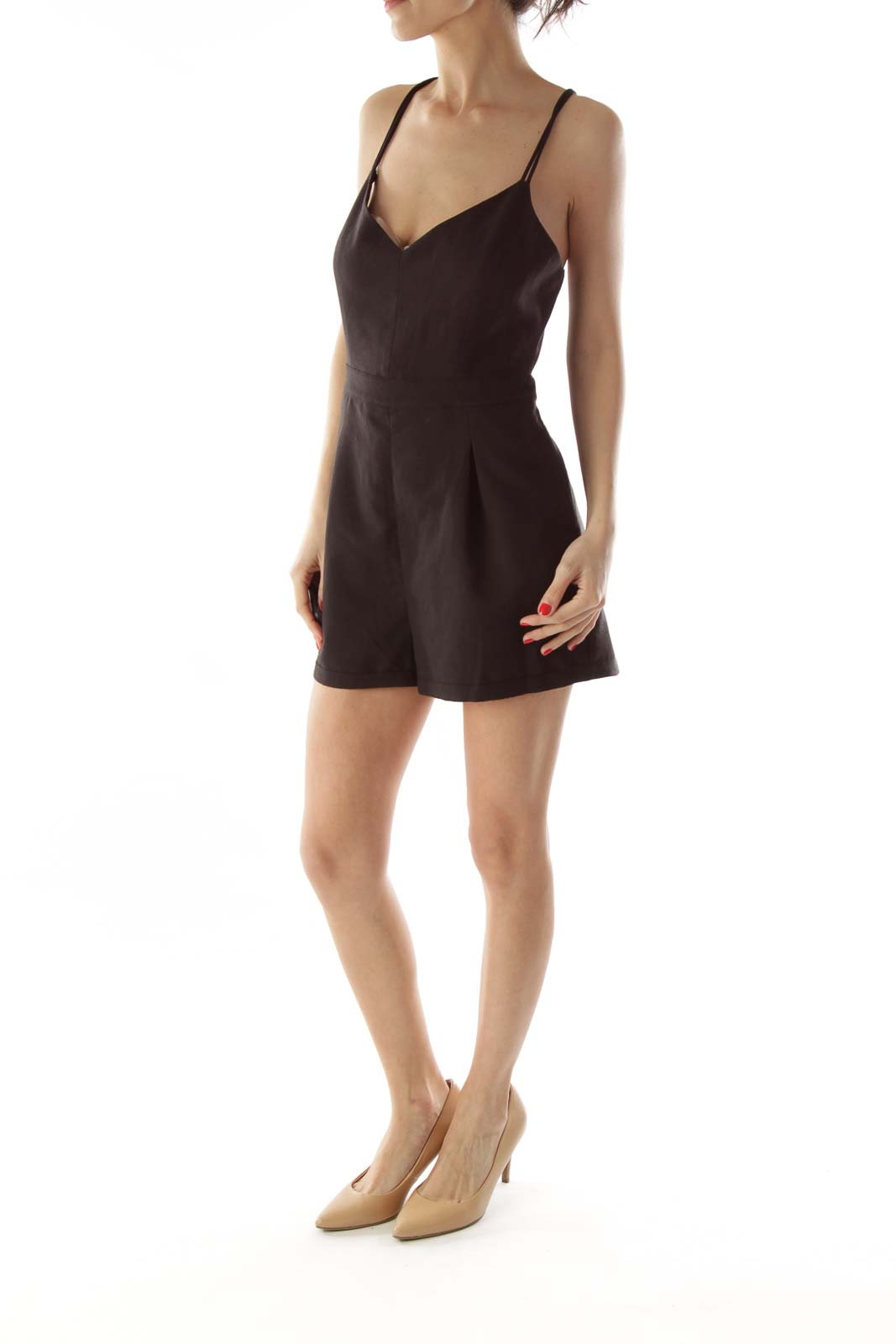 Black Pocketed Spaghetti Strap Romper