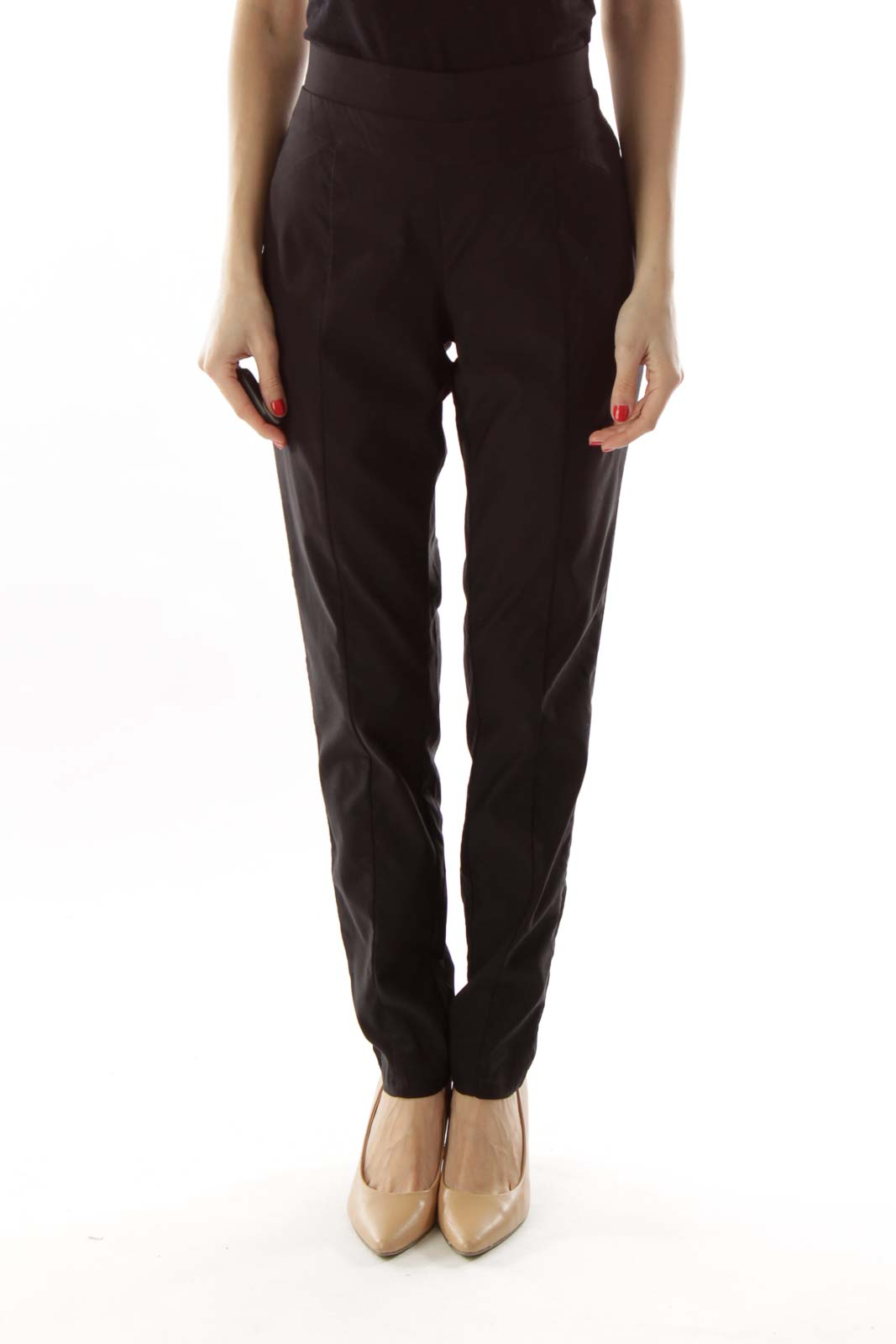 Black Tapered Stretchy Pants