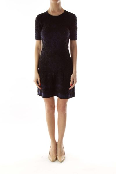 Black Navy Short-Sleeve Textured Elastic Dress