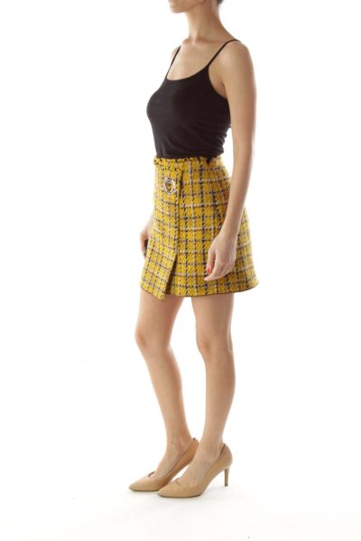 Yellow Brown Blue Tweed Skirt with Fringes