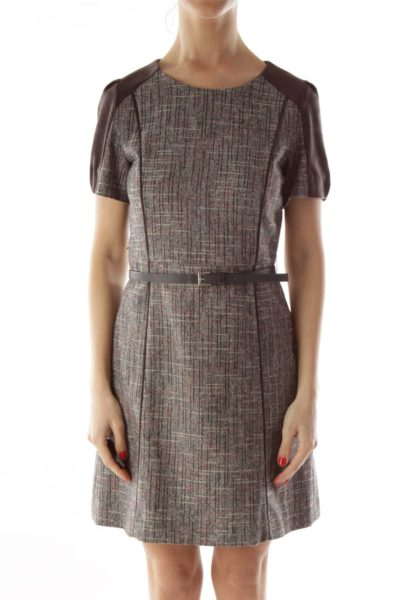 Brown Tweed Swede Belted Work Dress