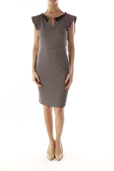 Black White Checkered V-Neck Sheath Dress