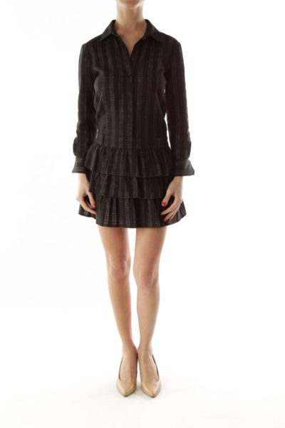 Gray Black Striped Ruffled Day Dress