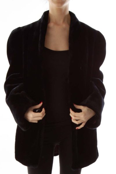 Black Vintage Faux-Fur Coat