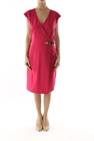 Pink V-Neck Buckled Day Dress