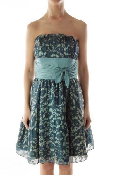Green Flower Belted Strapless Cocktail Dress