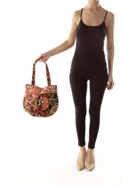 Brown Pink Flower Print Mini Tote