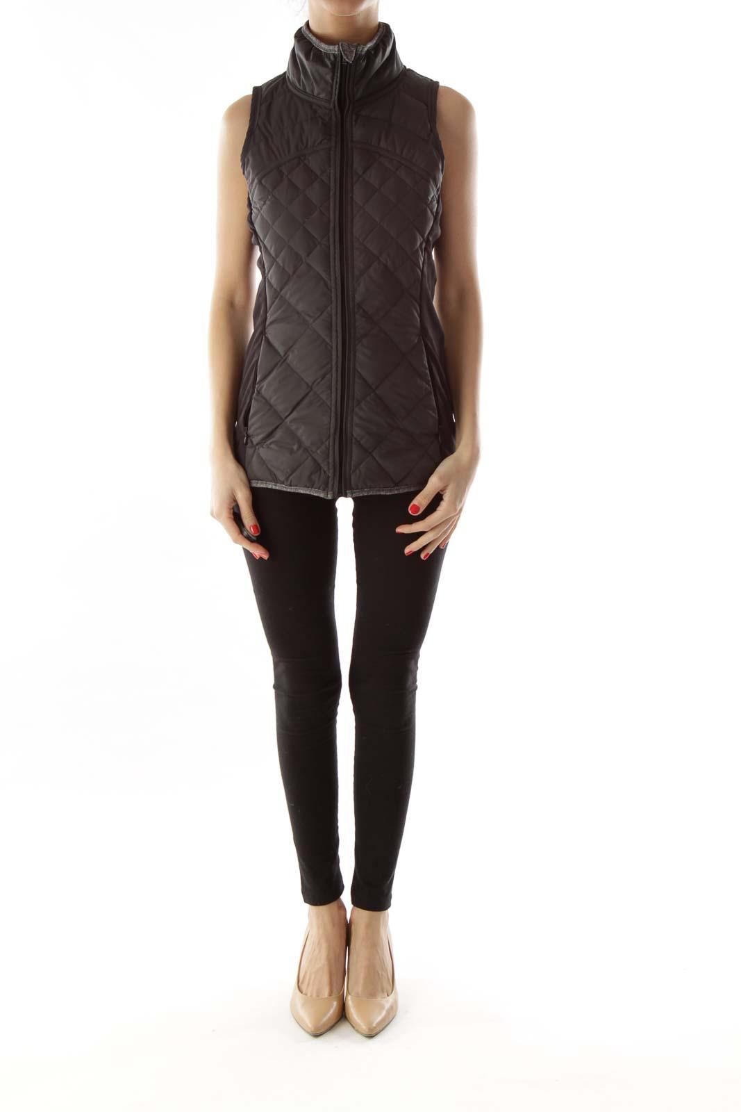 Black Quilted Goose Down Vest