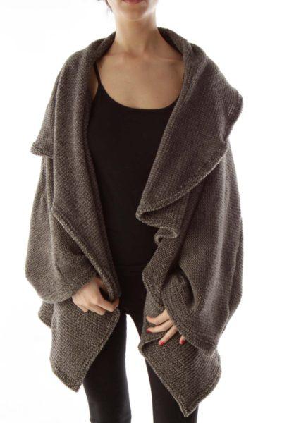 Gray Knit Ponco