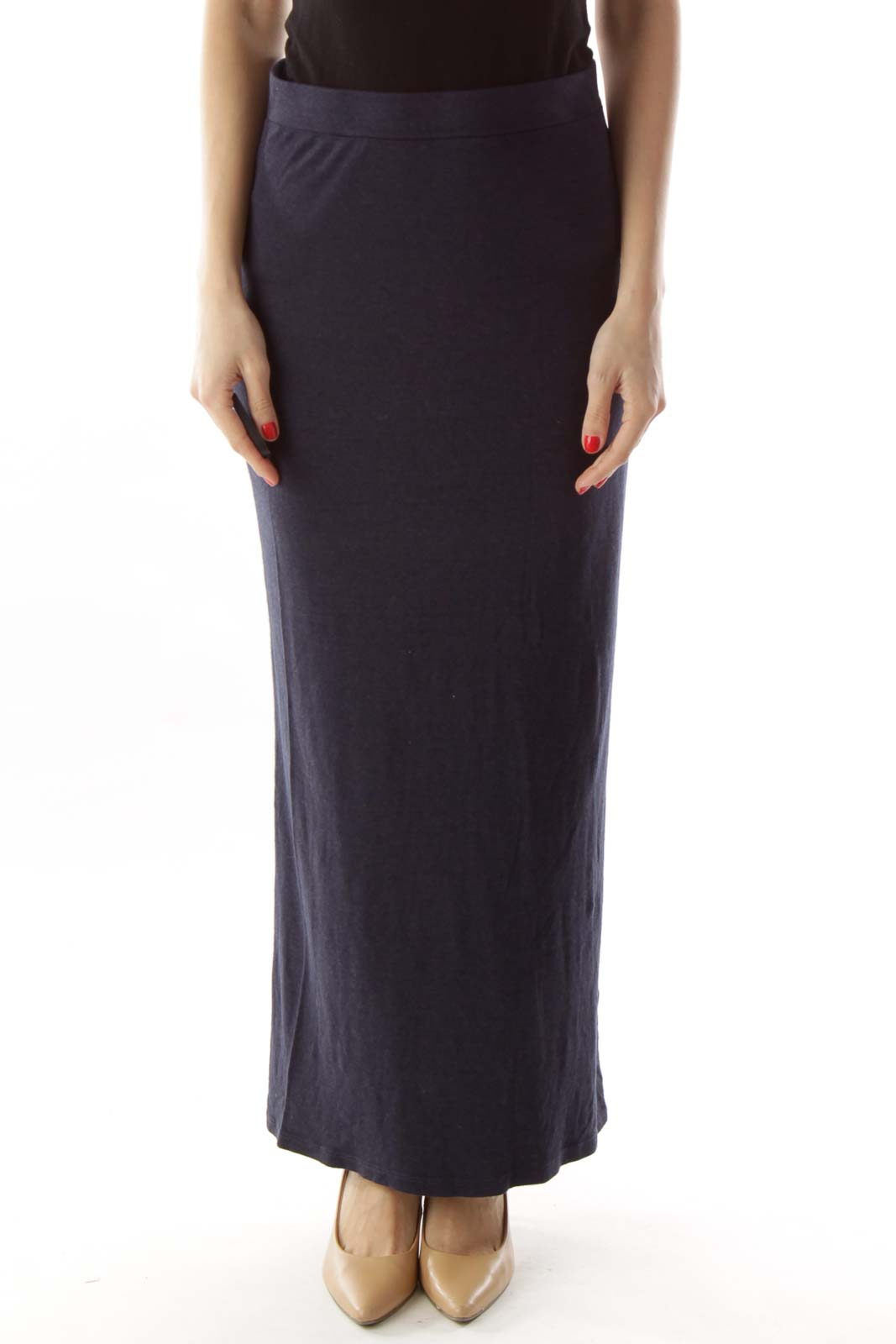 Navy Fitted Maxi Skirt