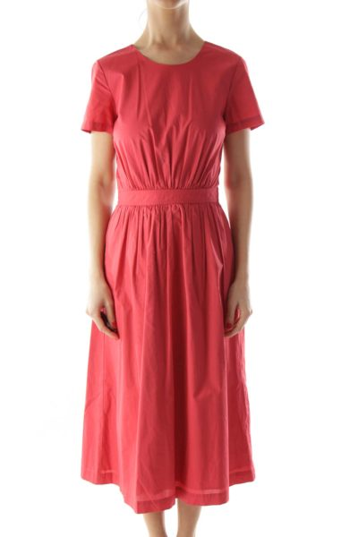 Red Open Back Day Dress