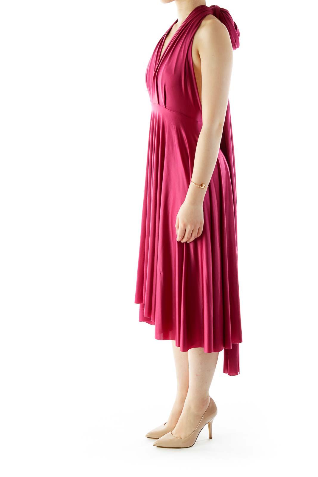 Pink Satin Wrap Cocktail Dress