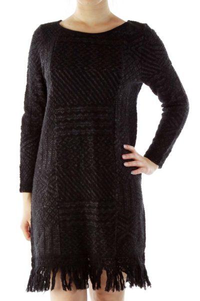 Black Knit Dress with Tassles