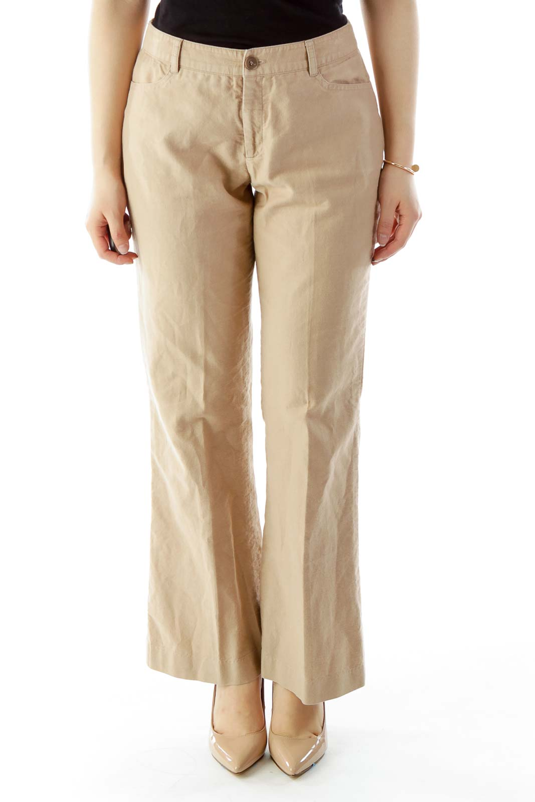 Khaki Corduroy Flared Pants