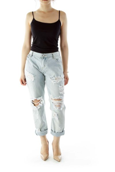 Blue Distressed Ripped Jeans