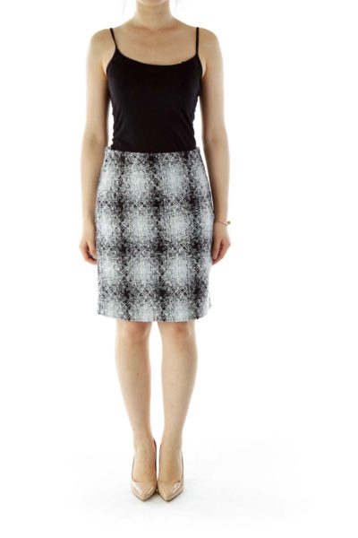 Black Gray Tweed Pencil Skirt