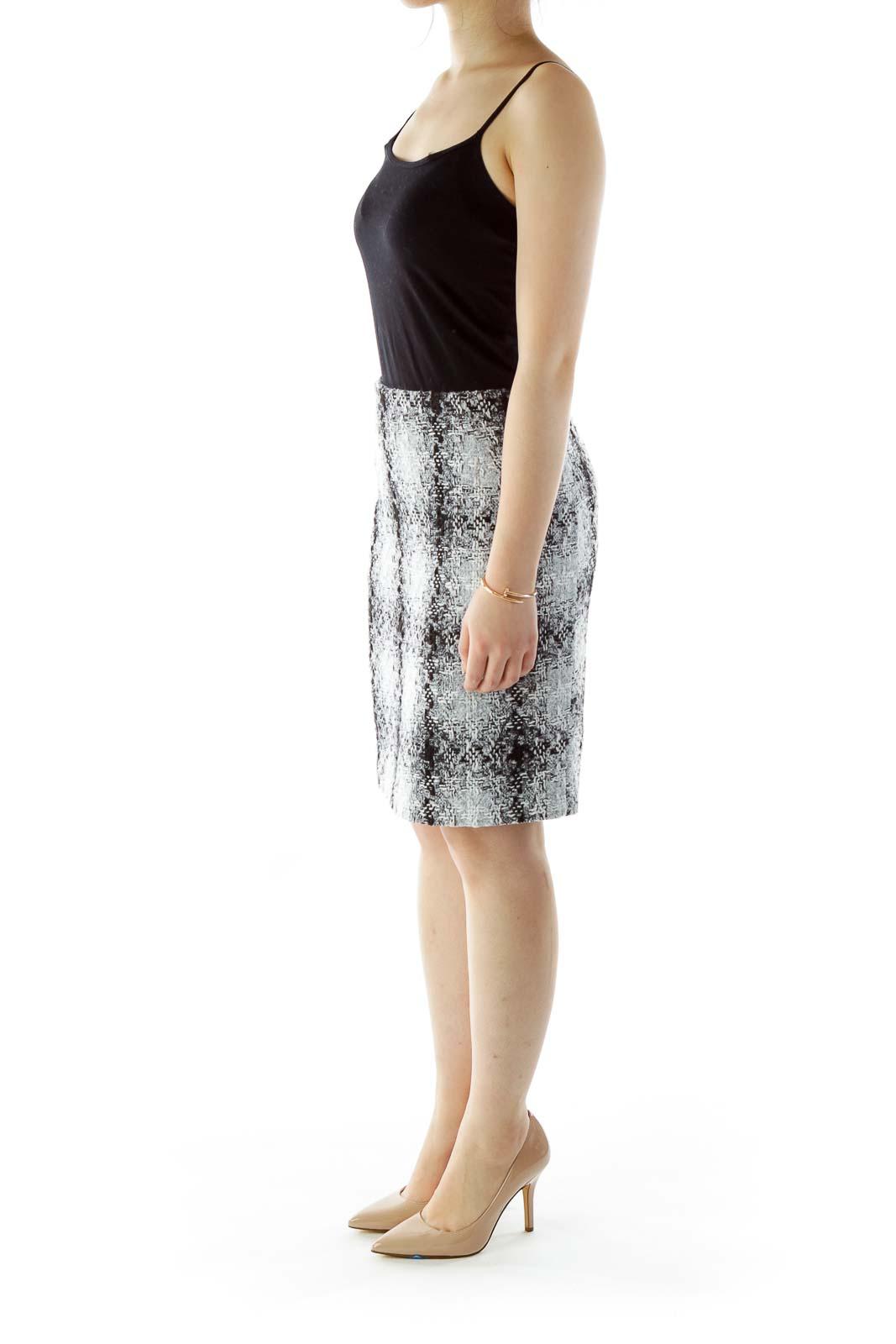 Black Gray Tweed Pencil Skirt
