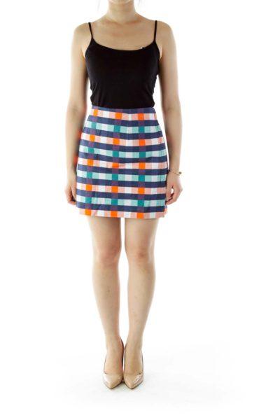 Blue Orange Plaid Mini Skirt
