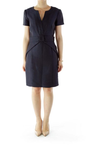 Blue Black Fitted Work Dress