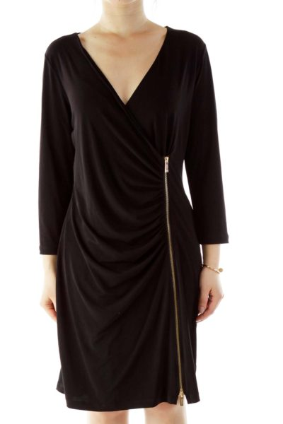 Black Zippered V-Neck Work Dress