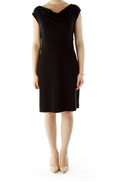 Black V-Neck Work Dress