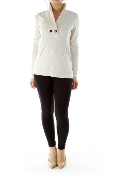 Cream Pocketed Sweater