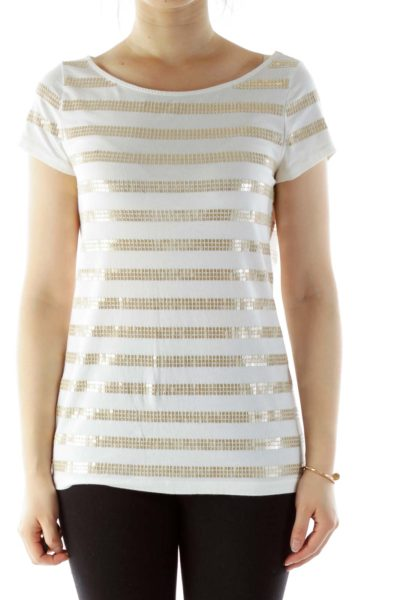 White Gold Sequined T-Shirt