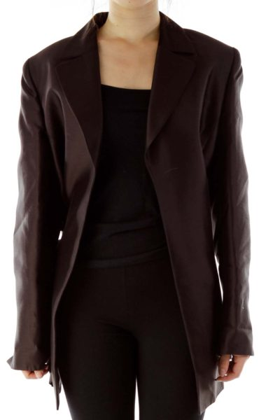 Brown Satin Long Blazer