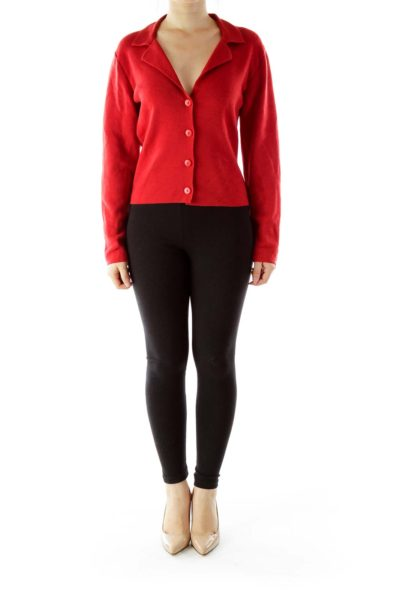 Red Merino Wool Cardigan