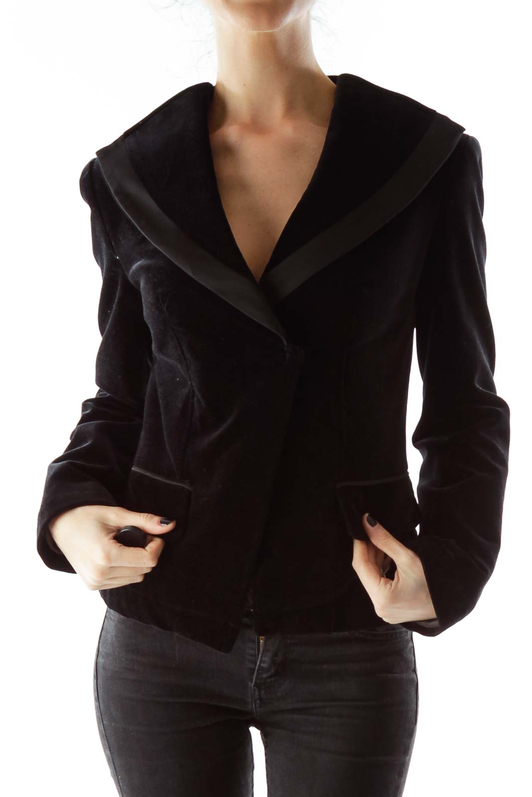 Black Velvet Pocketed Blazer