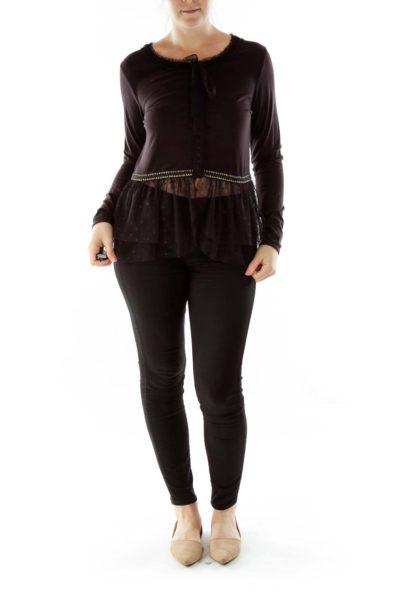 Black Lace Bottom Blouse