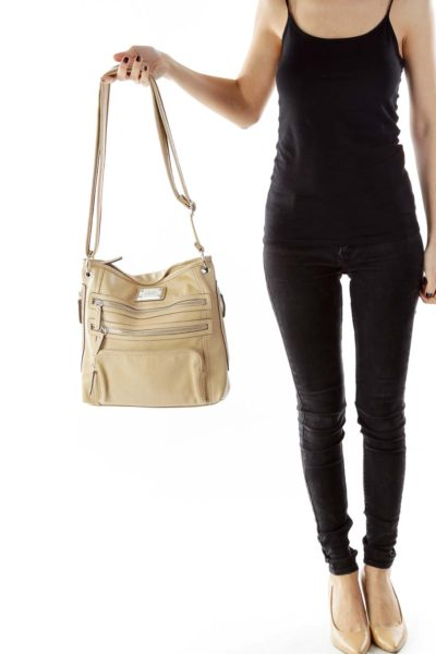 Beige Zippered Cross-Body Bag