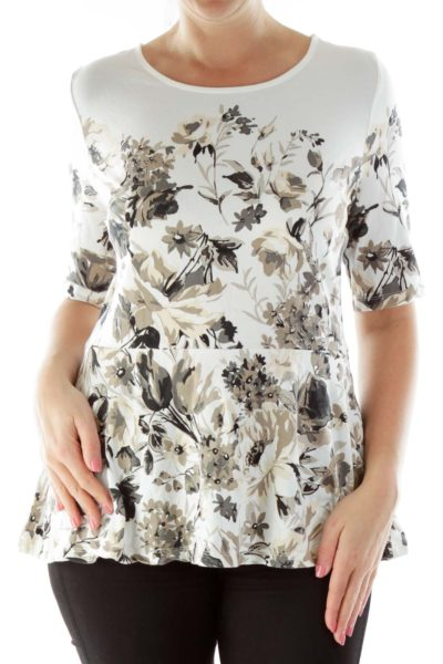 White Black Floral Blouse