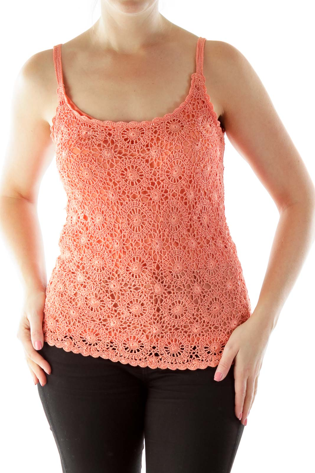 Orange Crocheted Tank Top