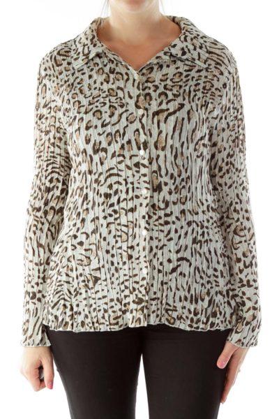 Black Brown Leopard Blouse