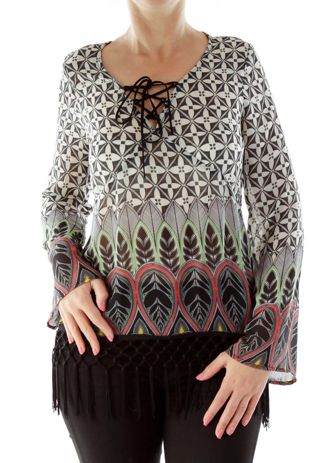 Black Red Green Print Top