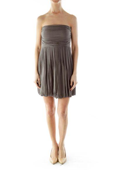 Gray Strapless Cocktail Dress