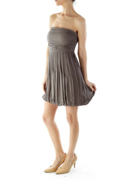 Gray Strapless Cocktail Dress
