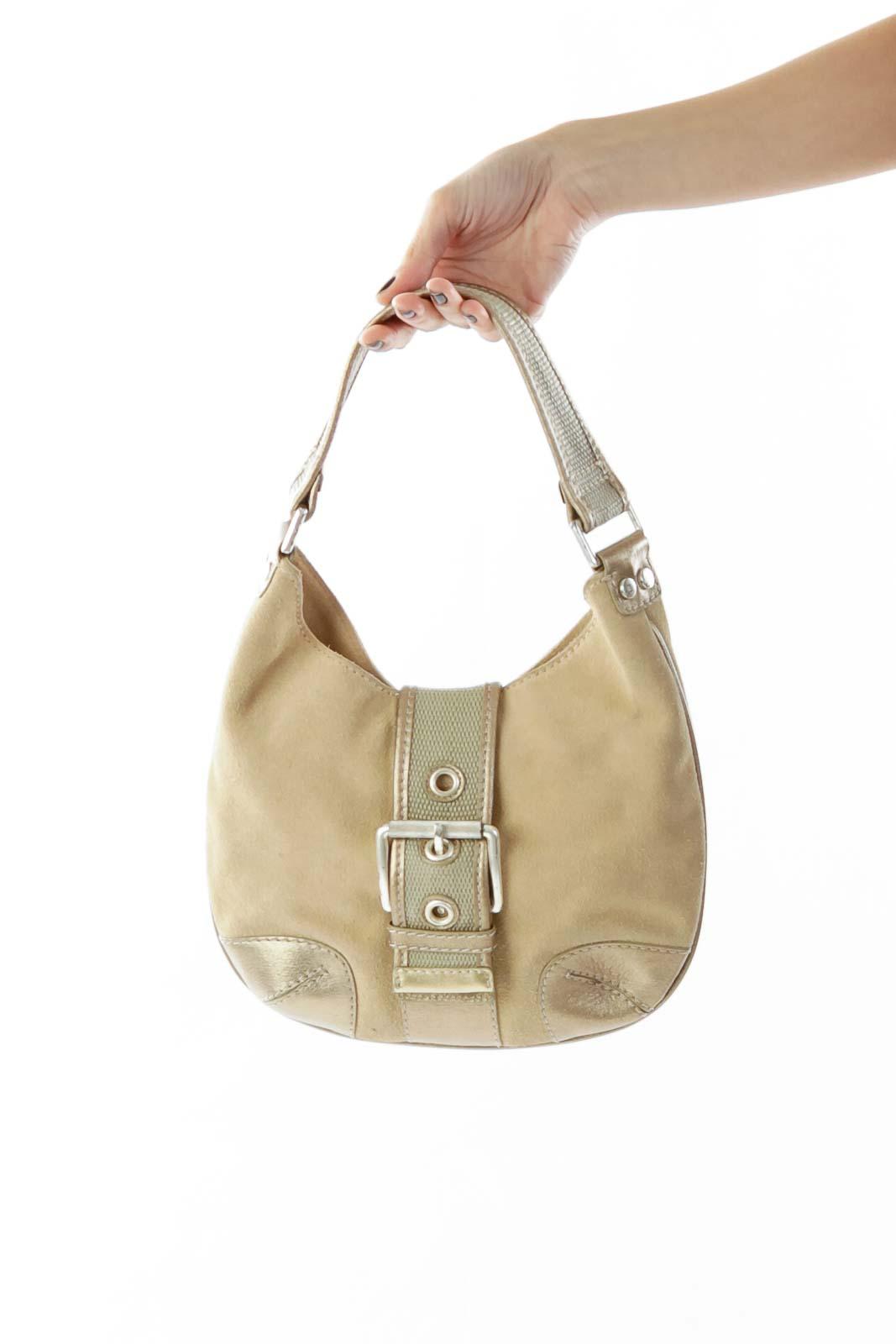 c303295dddf Shop Beige Gold Shoulder Bag w/ Buckle clothing and handbags at ...