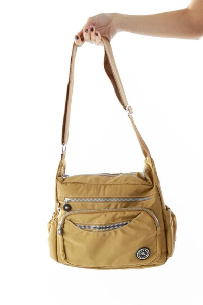 Brown Pocketed Cross-body Bag