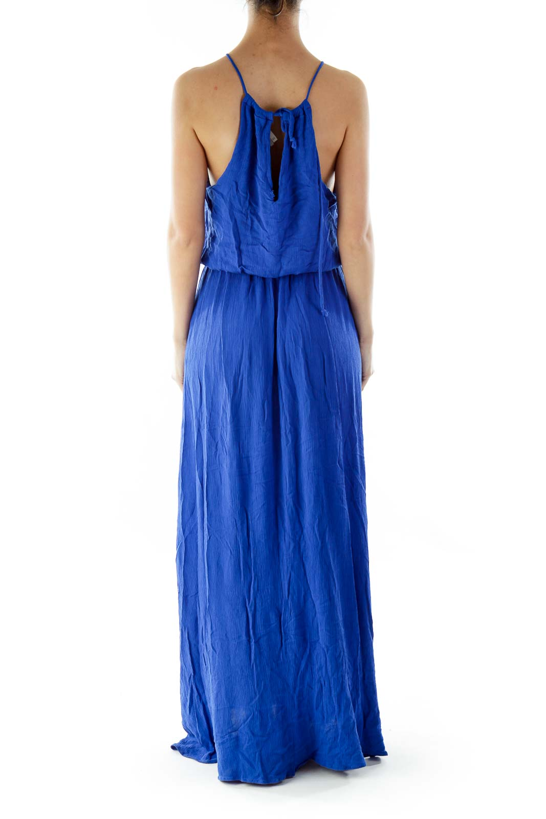 Blue Drawstring Maxi Dress