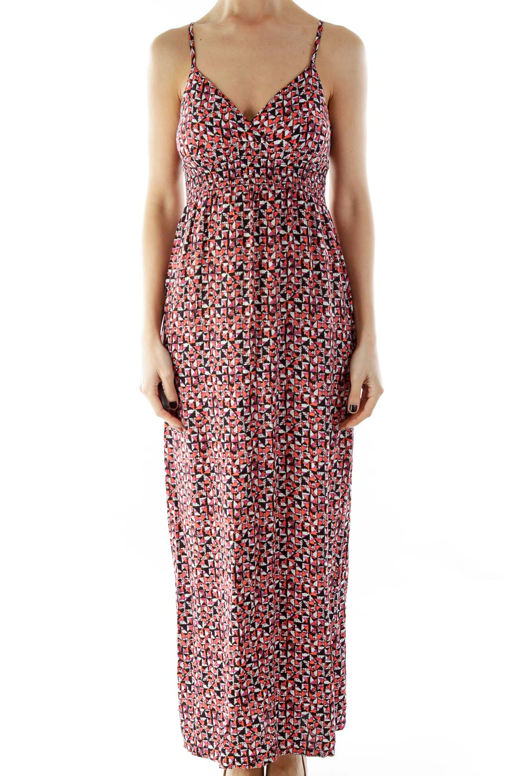 Black Pink Printed Maxi Dress