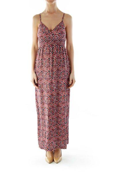Black Pink Printed Maxi Dress