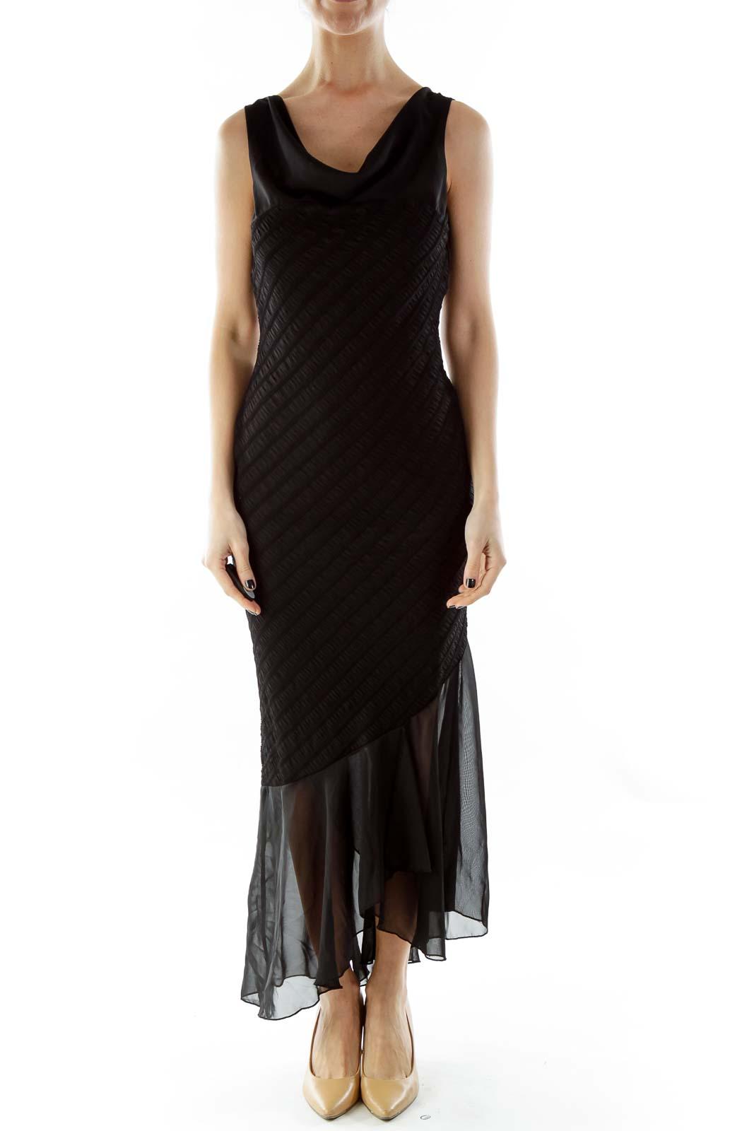 Black Scrunched Sleeveless Dress