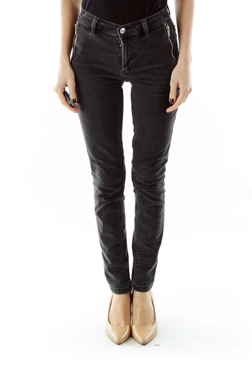 Black Zippered Skinny Jeans