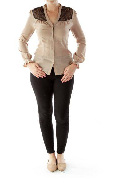 Brown Black Lace Blouse