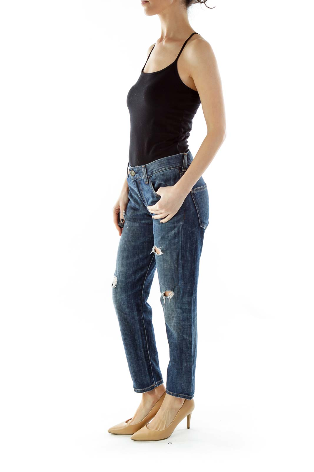 Blue Distressed Tapered Jeans