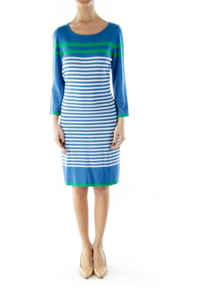 Blue Green Striped Knit Dress